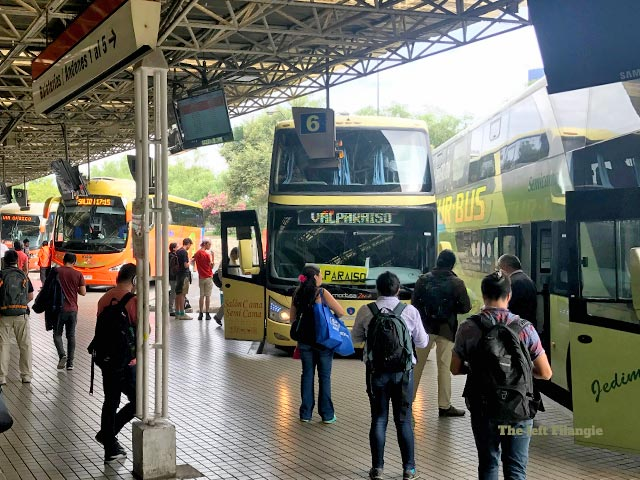 Plataformas donde salen los buses a Valparaiso