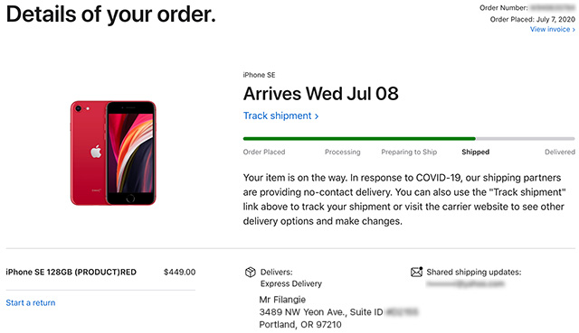 Apple Store iPhone estado shipped