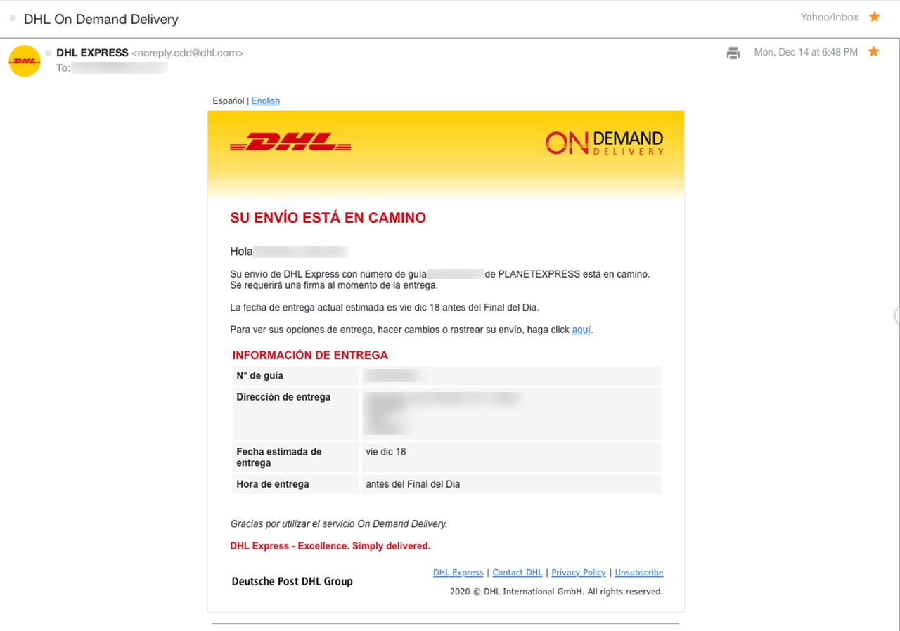 DHL on demand delivery por Planet Express